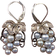 Fantastic Akoya Cultured Pearl Sterling Mid-Century Earrings - Converted to Lever Backs, Japanese !