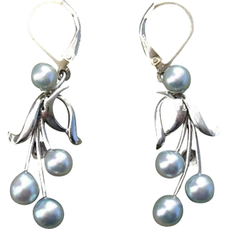 "Blue Akoya 1.8"" CARIBE Pearls & Sterling Vintage Earrings--Converted to Lever Backs !"