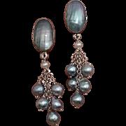 "Gorgeous Blue Akoya & Nautilus 2.65"" Cultured Pearls & Sterling Earrings"