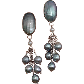 "Gorgeous Blue Akoya & Nautilus 2.65"" Cultured Pearls & Sterling Earrings"