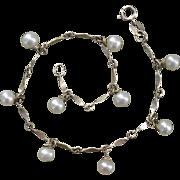 Lovely Cultured Pearls & Sterling Silver Vintage Bracelet - Signed PC