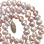 Luminous Pink Baroque Biwa 8mm Cultured Pearl Vintage Japanese Necklace