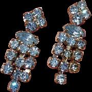 Gorgeous Blue Glass Rhinestones Vintage Earrings