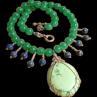 Divine Celadon Jade, Chrysoprase, Lapis Gemstones & Sterling Silver Necklace !