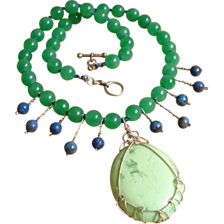 Divine Celadon Jade, Chrysoprase, Lapis Gemstones & Sterling Silver Necklace !