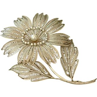 "Beautiful LARGE 3.5"" Filigree Cultured Pearl Flower Sterling Brooch"