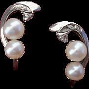 Lovely Akoya Cultured Pearls & Sterling Vintage Earrings !