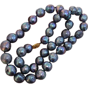 "Gorgeous Large 13.3mm - 11.7mm Blue 22"" Cultured Baroque Pearls & 14K Necklace"