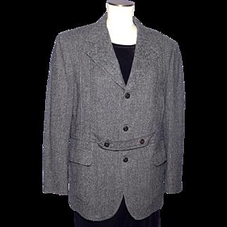 Vintage 1970s Menswear Tweed Sport Coat Jacket Norfolk Style Black White Herringbone