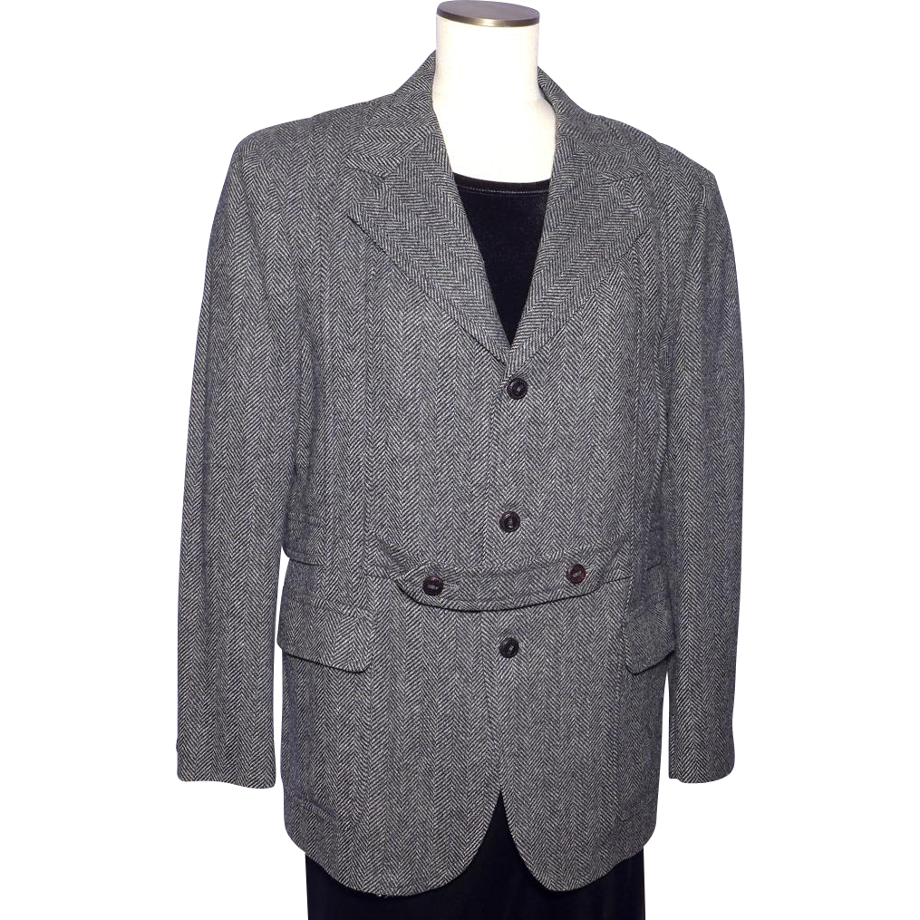 Vintage 1970s Menswear Tweed Sport Coat Jacket Norfolk Style Black White Herringbone