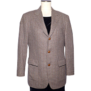 Vintage 1970s Menswear Tweed Sport Coat Jacket Brown Herringbone