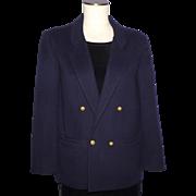 Vintage 1980s I Magnin Cashmere Navy Blue Blazer Coat