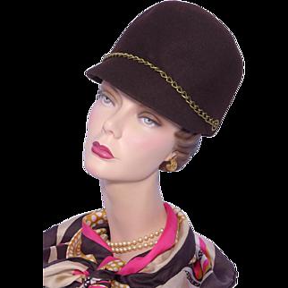 Vintage 1960s Helmet Style Hat Brown Wool Felt Mod