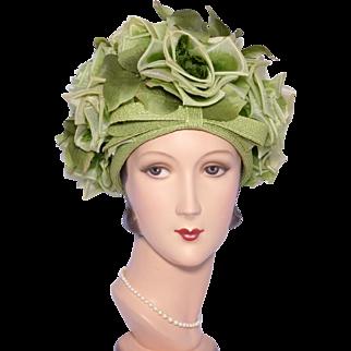 Vintage 1960s Leslie James Floral Bubble Toque Hat Green Silk Roses