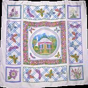1990s Bermuda Cottage Silk Scarf Barbara Finsness