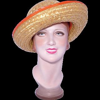 Vintage 1980s Eric Javits Natural Woven Straw Hat Orange Trim