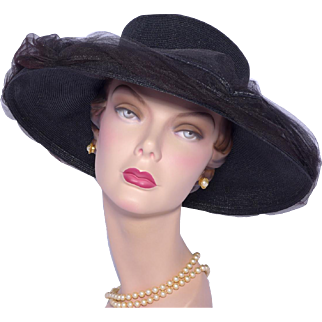 Vintage 1960s Valerie Modes Wide Brim Black Straw Picture Hat
