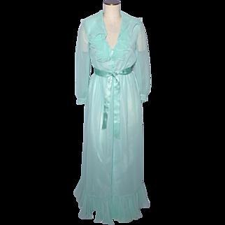 Vintage 1970s Victor Costa Ruffled Aqua Chiffon Evening Dress