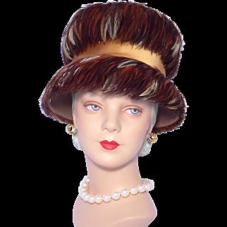 Vintage 1960s Feather Hat Brown Wool Felt Flower Pot Style