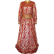 Vintage 1970s Molly Parnis Red and Gold Evening Gown