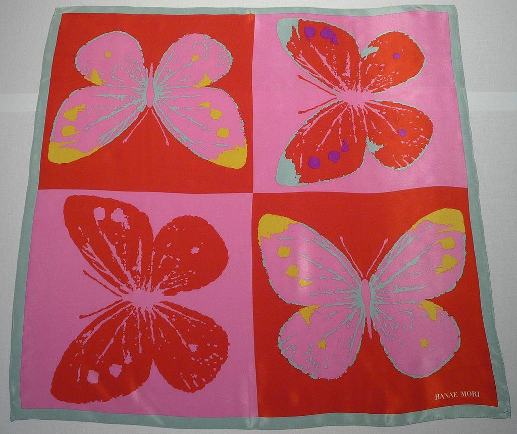 Vintage 1980s Hanae Mori Silk Butterfly Scarf