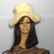 Vintaage 1970s Leslie James Blonde Mink Wide Brim Hat