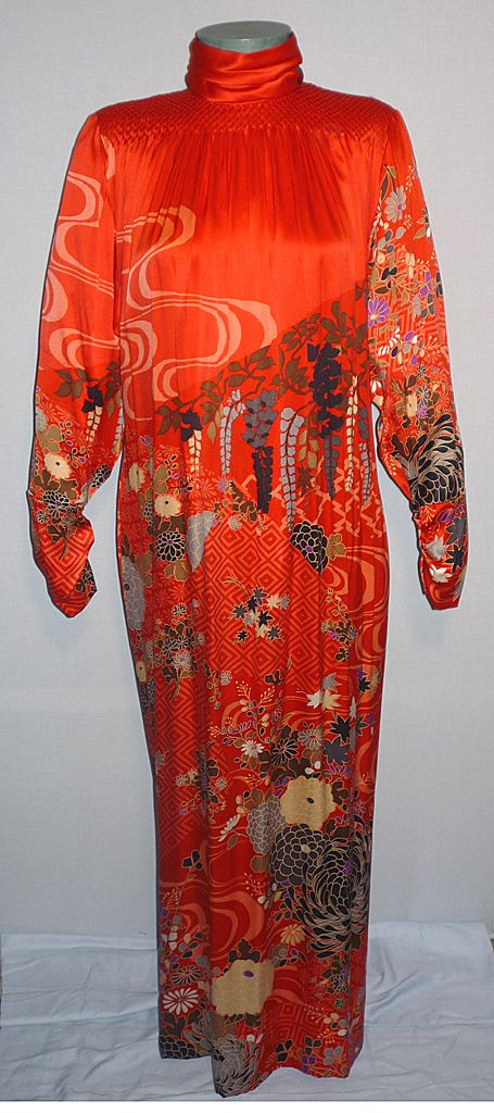 Vintage 1970s Hanae Mori Exquisite Red Silk  Evening Dress