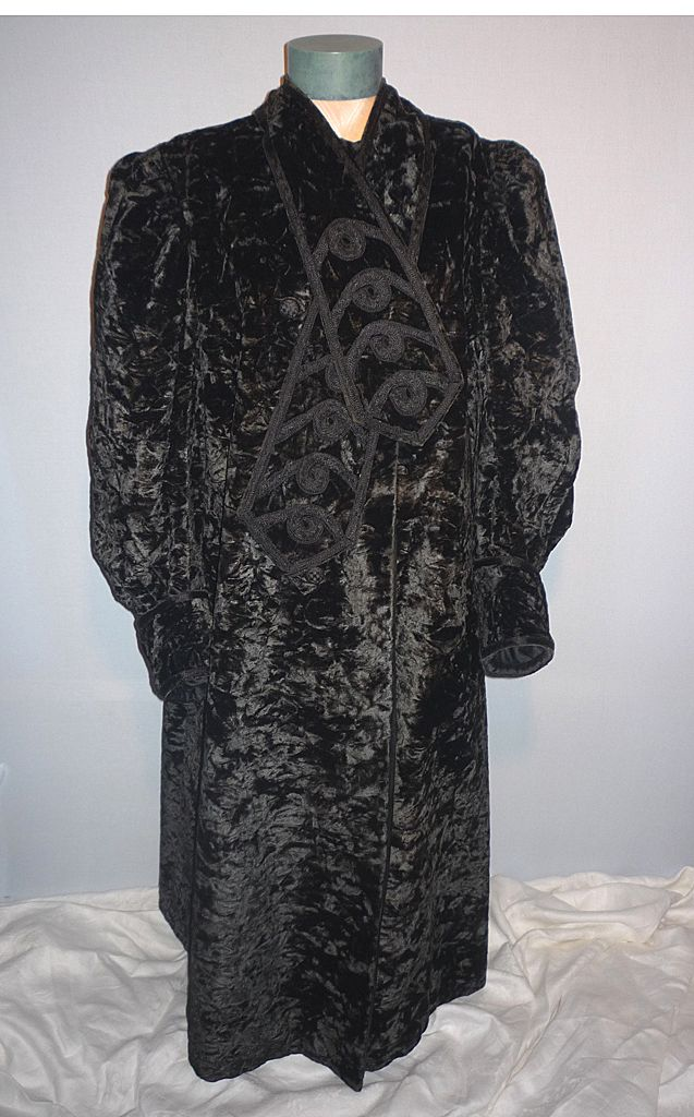 Vintage Victorian 1880s-90s Black Crushed Velvet Full Length Coat with Embroidery Detail