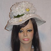 Vintage 1960s Floral Hat with Cascades of Daisies and Carnations