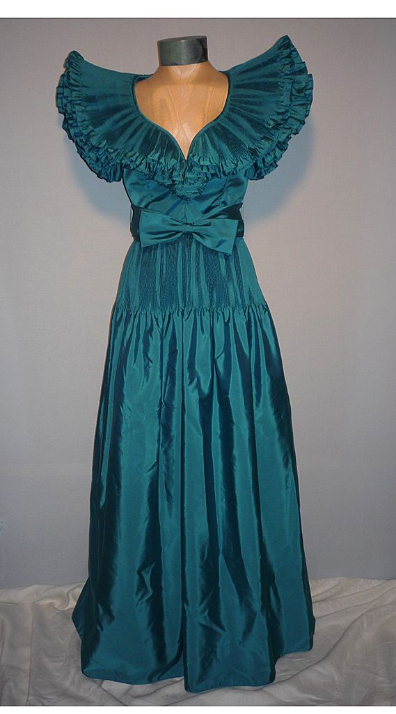 vintage 1980s victor costa teal taffeta evening dress from
