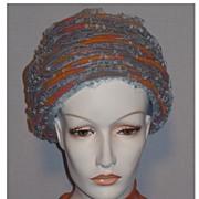 Vintage 1960s Blue Open Weave Tulle Beehive Hat