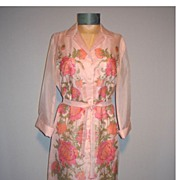 Vintage 1970s Shaheen Pink Floral Dress