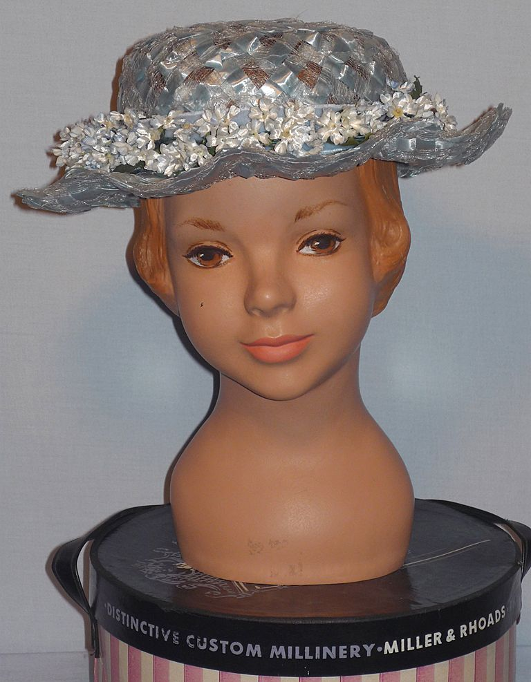 Vintage 1950s Childs Powder Blue Woven Straw Hat With Forget-Me-Nots
