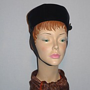 Vintage 1960s Adolfo II Black Velvet Pillbox Hat