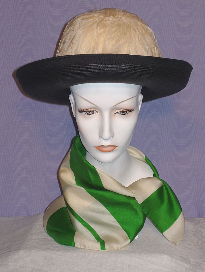 Vintage 1960s Ann Marie Black Straw Breton Style Hat With White Feather Crown