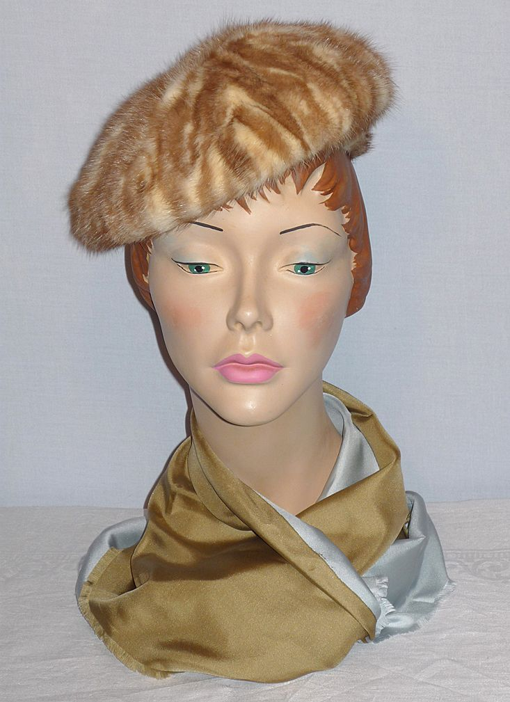 Vintage 1960s Vera Whistler Caramel and Cream Mink Hat