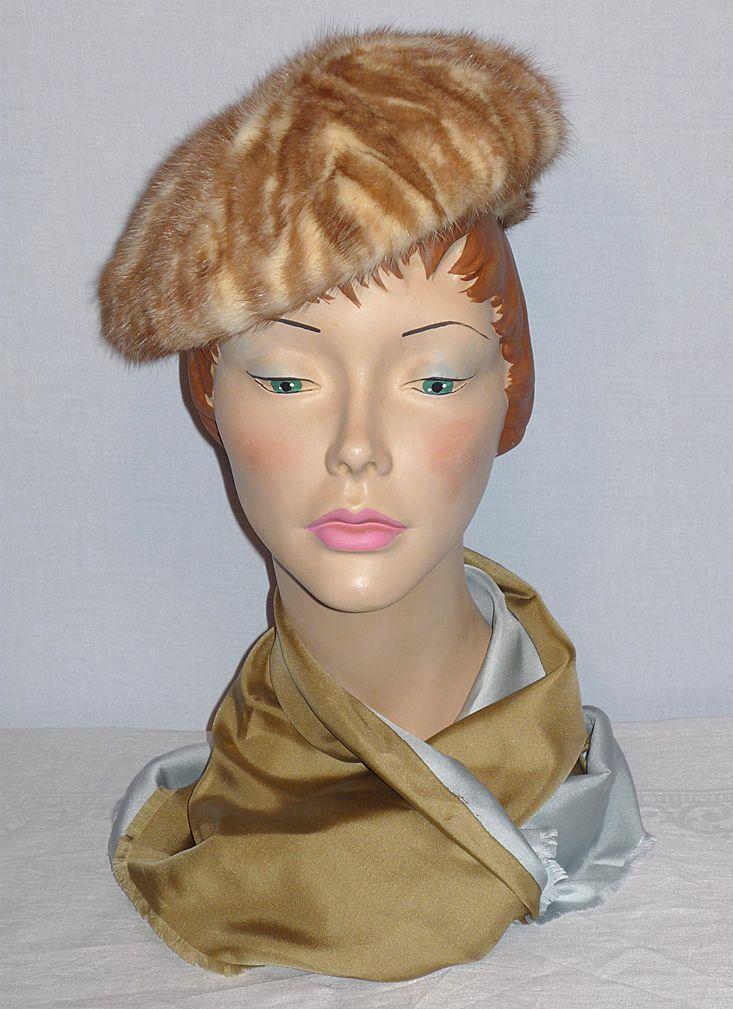 Vintage 1960s Vera Whistler Mink Hat Caramel and White