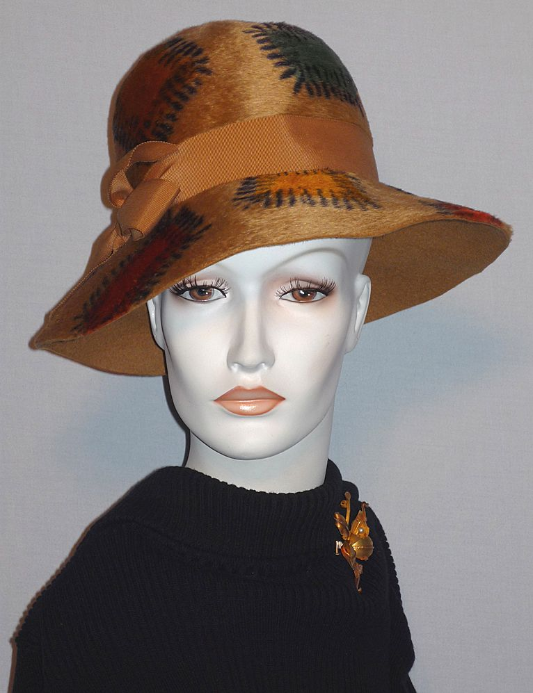 Vintage 1960s Mr John Jr Patches Fur Felt Fall Colors Hat