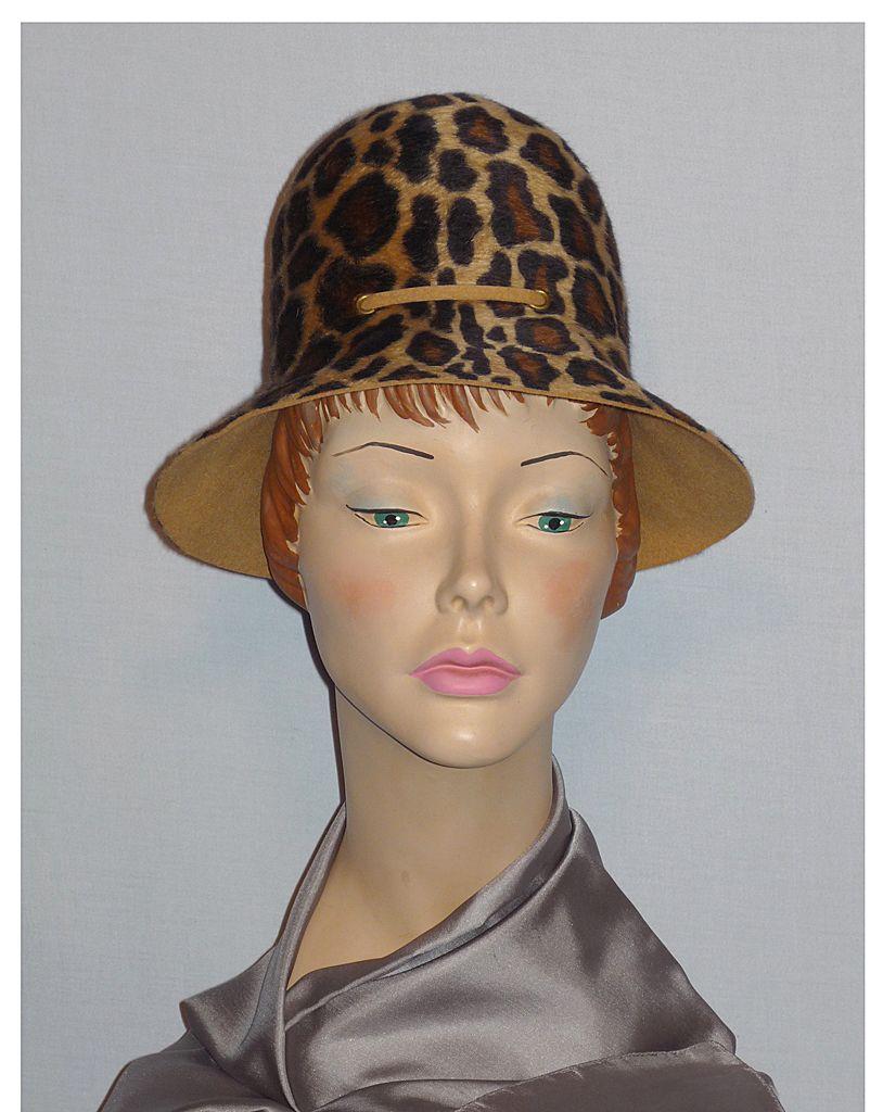 Vintage 1960s Mr John Leopard Print Fur Felt Hat