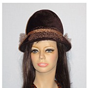 Vintage 1960s Mr John Jr Brown Fur Felt Cloche Style Hat