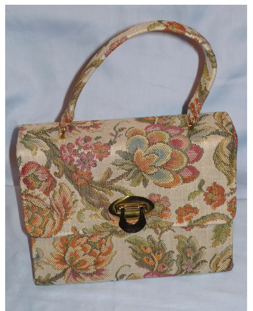 Vintage 1960s  Cara Floral Tapestry Handbag