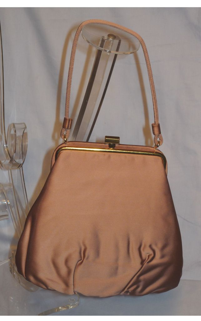 Vintage 1960s JR Cocoa Brown Satin Evening Purse