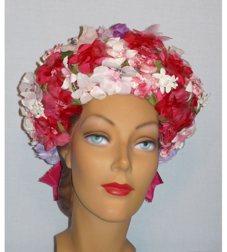 Vintage 1960s  Sally Victor Headlines Halo of Flowers Hat