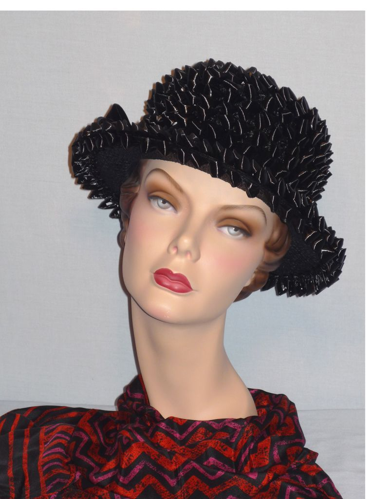 Vintage 1960s Black Straw Boater Style Hat Originally Sold at Marthas Pleasant Hills