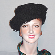 Vintage Late 1950s   Early 1960s  Schiaparelli Black Tulle Hat