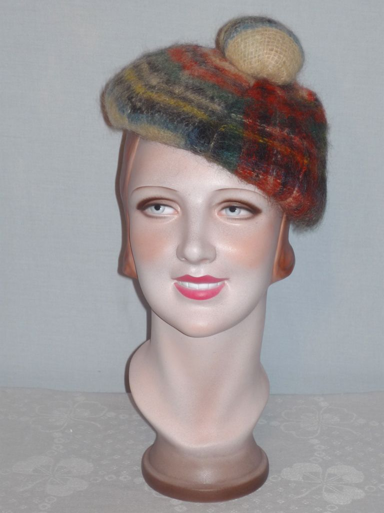 Vintage 1960s Mohair and New Wool Plaid Tam Made in Scotland
