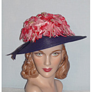 Vintage Late 1950s-Early 1960s Navy Blue Straw Hat With Pink Flowers