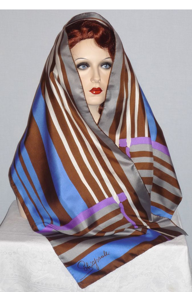 Vintage 1970s  Schiaparelli  Striped Silk Scarf