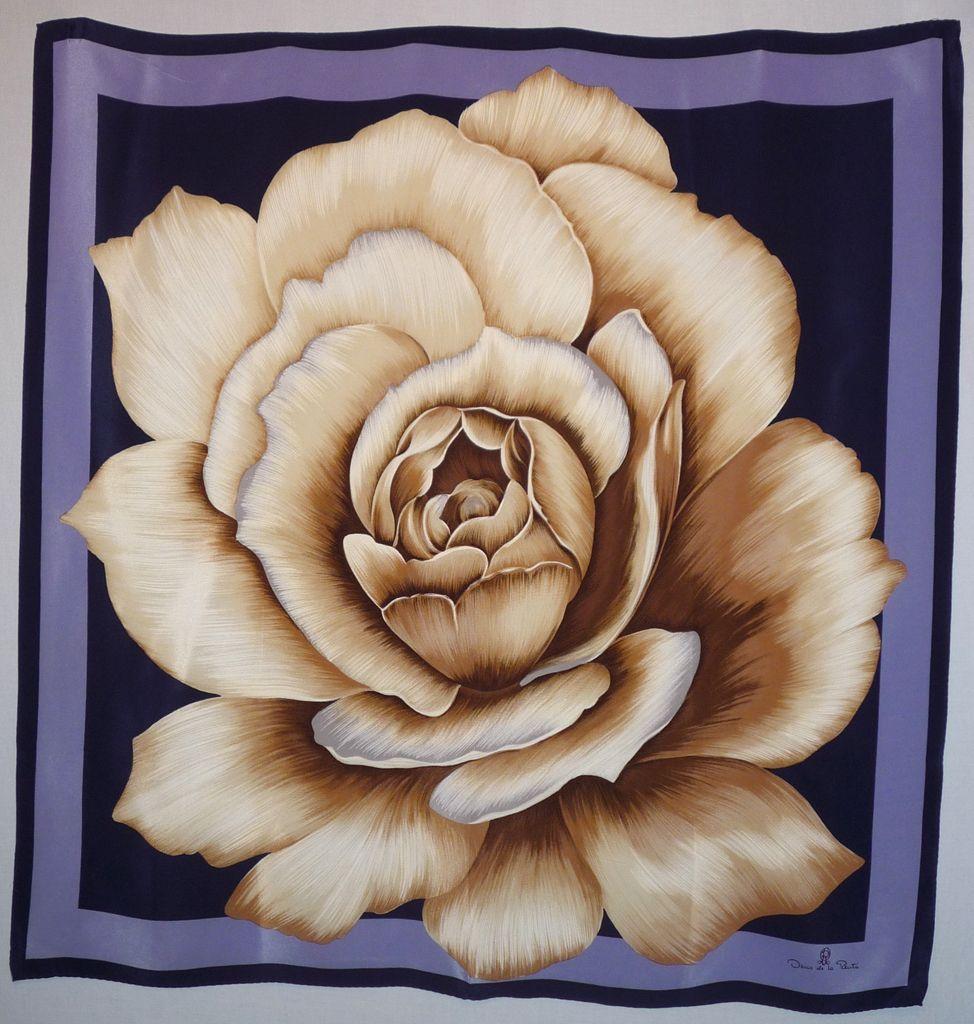 Vintage 1980s Oscar de la Renta  Rose Silk Scarf