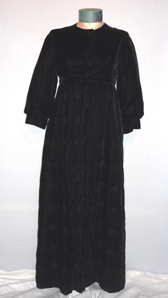 Vintage 1960s Long Lush Black Velvet Empire Waist Opera Coat